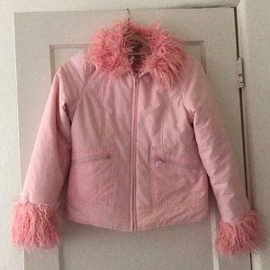 Jackets & Blazers - Cute pink egl fairy kei faux fur trim moto jacket